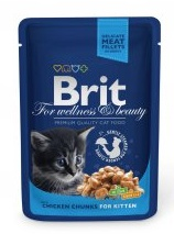 Brit Premium Cat kapsa Chicken Chunks for Kitten 100g Kotě