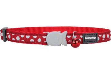 Obojek pro kočku RED DINGO 20-32cm/12mm White Spots on Red