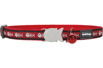 Obojek pro kočku RED DINGO 20-32cm/12mm Fishbone Red