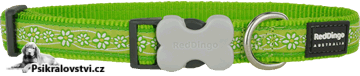 Obojek Red Dingo 31-47cm/20mm Daisy Chain Lime AKCE