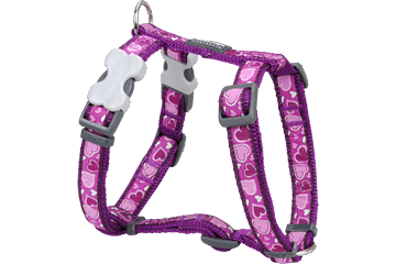 Postroj pro psa M Red Dingo 15mm/36-54cm - vzor : Breezy Love Purple