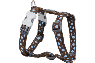 Postroj pro psa XL Red Dingo 25mm/71-113cm - vzor : Blue Spots on Brown