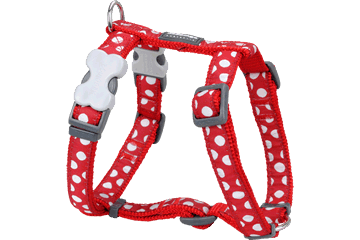 Postroj pro psa XL Red Dingo 25mm/71-113cm White spots on red