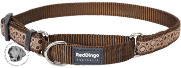 Obojek Red Dingo polostahovací pro psa 26-40cm/15mm Bed Rock Brown
