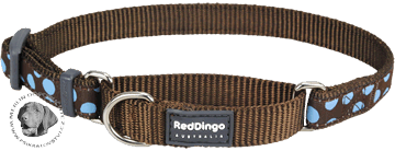 Obojek Red Dingo polostahovací pro psa 26-40cm/15mm Blue Spots on Brown
