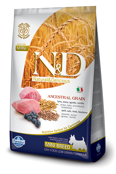 N&D Low Grain DOG Adult Mini Lamb & Blueberry 7kg + dárek