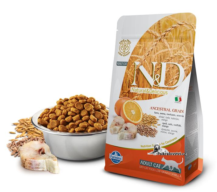 N&D Low Grain CAT Adult Codfish & Orange 10kg + dárek + doprava zdarma