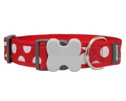 Obojek Red Dingo 37-55cm/40mm White spots on red AKCE